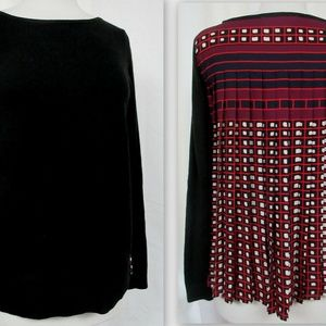 LOFT Knit Front Pleated Print Back Pullover Blouse